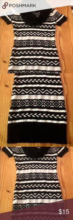 Size M Body Con Sweater Dress Aztec Style Black and White Aztec Style Sweater Dress worn less then a handful of times. Dresses Midi