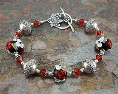 Red and black bracelet lampwork beads bracelet by thepinkmartini, $75.00