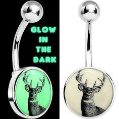 Glow in the Dark Deer Buck Belly Ring   Body Candy Body Jewelry