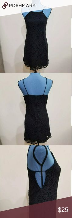 FINAL PRICE P&N Lace Slip High Neck Dress, S In good condition with minor to moderate signs of wash wear. Beautiful floral lace over a black slip. Open on the sides. A must- have! Measures 34in long from the shoulder. Pins & Needles Dresses