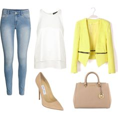 My first spring outfit by gabi-prikrylova on Polyvore featuring Topshop, H&M, Jimmy Choo, MICHAEL Michael Kors, yellow and Spring2015, i want this yellow blazer please somebody :D :(