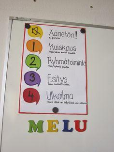 Open ideat: Kurkistus luokkaan Jos ope joutuu huomauttamaan MELUsta, yksi kirjain aina lähtee pois. Koko luokka joutuu 5 min. harjoittelemaan hiljaisuutta.