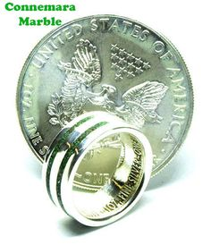 Unique handmade Irish extra large over sized wedding rings for men Silver Eagle Coins, Silver Eagles, Irish Wedding Rings, Wedding Bands, Engagement Rings For Men, Connemara, Coin Ring, Birthstones, Jewelry Accessories