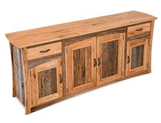 Reclaimed Barn Wood Sideboard available at Woodland Creek Furniture in custom sizes and layouts.