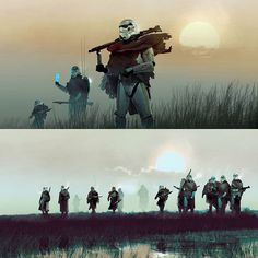 Stormtroopers on the March in the marsh lands Star Trek, Star Wars Rpg, Star Citizen, Imperial Stormtrooper, Star Wars Jokes, Cyberpunk, Star Wars Concept Art, Star Wars Images, Star Wars Wallpaper