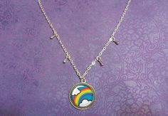 Rainbow Necklace Raindrops Rain Clouds Rain Rainy by BubbleCatShop
