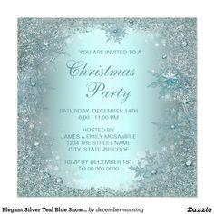 Elegant Silver Teal Blue Snowflake Christmas Party 5.25x5.25 Square Paper Invitation Card