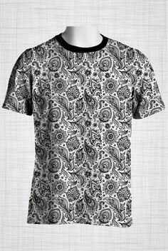 Plus Size Men's Clothing Black and white paisley print