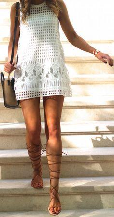 summer white x crochet dress x lace-up sandals