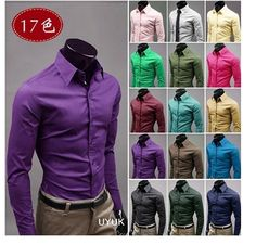 Free shipping Hot Sale Fashion Mens Shirt Designer Casual Slim Fit Solid Candy Color 17 Colors Dress shirts Asian size M 3XL-in Tuxedo Shirt...
