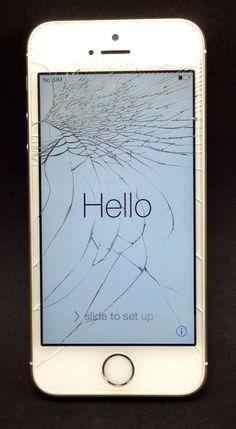 Apple Gold Iphone 5S Verizon Wireless Cracked Screen PHONE WORKS No Sim GOOD ESN #Apple