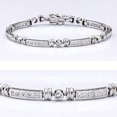 Beautiful cubic zirconia bracelet features small princess cut (2.25mm each) stones channel set alternating with bezel set (2.75mm each) round stones. An approximate 2.81 total carat weight. This high quality cubic zirconia bracelet is 7 inches long, also available in different lengths and in 14k yellow gold via special order. Cubic zirconia weights refer to equivalent diamond carat size.