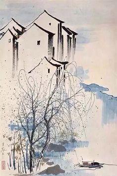 吴冠中 Chinese Landscape Painting, Chinese Painting, Landscape Art, Landscape Paintings, Chinese Artwork, Chinese Drawings, Sumi E Painting, Japan Painting, Art Chinois