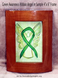 Green Awareness Ribbon Guardian Angel Art by AwarenessGallery