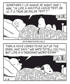 First Appearance: March 8th, 1999 #peanutsspecials #ps #pnts #schulz #snoopy #charliebrown #sometimes #lie #awake #night #ask #life #multiple #choice #test #true #false #test #voice #dark #says #hate #thousand #word #essay www.peanutsspecials.com