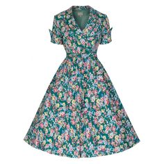 Lindy Bop Courtney Green Floral Swing Dress Vintage Inspired Fashion 74db2a233c