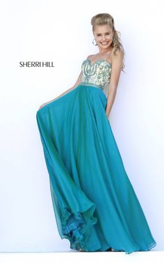 Beaded 2015 Sherri Hill 1947 Teal Sweetheart Evening Dress