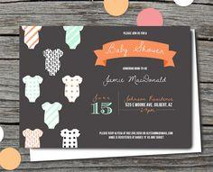 Baby Shower Invitation - Gender Neutral, mint and orange