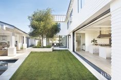 Traditional White L-Shaped Courtyard