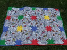 Modern cowboy baby boy quilt grey western primary red blue green