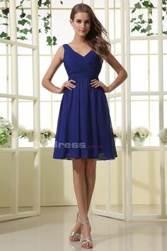 A Line V-Neck Chiffon Ruffles Short Bridesmaid Dresses - by OKDress UK