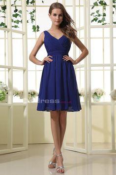 A Line V-Neck Chiffon Ruffles Short Bridesmaid Dresses - by OKDress UK