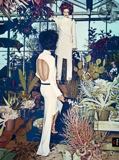 Hothouse Flowers: Spring's alluring, graphic take on modernism is in full, decadent bloom. Carolyn Murphy and Karen Elson try out the new silhouettes in VOGUE January issue. Photographed by Steven Klein Fashion Editor: Grace Coddington. Vogue Editorial, Editorial Fashion, Grace Coddington, Carolyn Murphy, Karen Elson, Hothouse, Vogue Us, Vogue Korea, Great Photographers