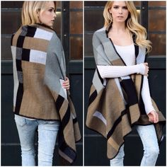 Long Cardigan Slouchy  Boyfriend Poncho Cape Beautiful gray combo color block poncho . 100% soft acrylic . Perfect for layering . NWOT . Please comment for personal listing one size will fit XS/XXL Vivacouture Sweaters