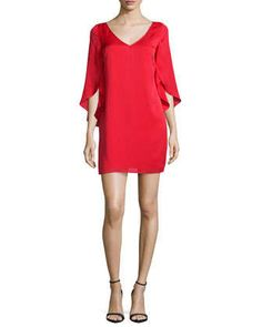 Silk V-Neck Butterfly Dress by Milly at Neiman Marcus.