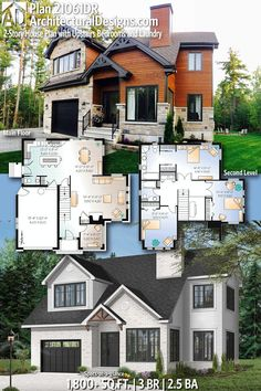 Plan House Plan with Upstairs Bedrooms and Laundry Architectural Designs House Plan gives you 3 bedrooms, baths and sq. Ready when you are! Where do YOU want to build? House Plans 2 Story, Sims House Plans, Dream House Plans, Modern House Plans, House Floor Plans, Architectural Design House Plans, Architecture Design, Casas The Sims 4, House Blueprints