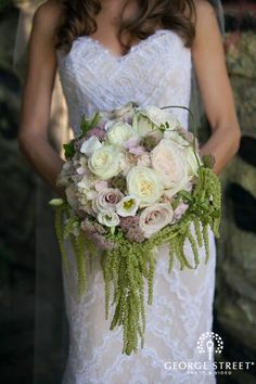 Rustic mix of sweet pinks and creams with hanging amaranthus #bouquet