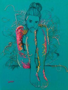 Embroidery Art Original Hand Embroidered Nude Female Figure Study Nude Art Blue Hand Sticthed Fibre Art