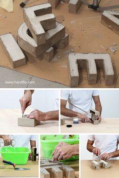Cement letters on bookshelves as book ends and dividers Diy Concrete Planters, Concrete Crafts, Concrete Projects, Diy Projects, Cement Art, Concrete Art, Concrete Design, Diy Y Manualidades, Beton Diy