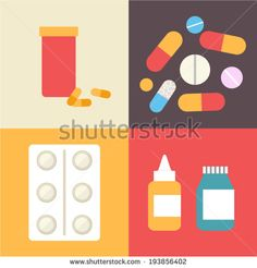 Pharmacy icons set, pills and capsules. Healthcare vector illustration made in flat design.