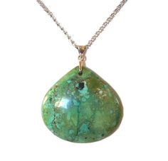"""Sale!!  TURQUOISE NECKLACE.   Genuine Grass Turquoise Pendant on An 18"""" Sterling Silver 1mm Box Chain.  Free Shipping by colorsofthesouthwest. Explore more products on http://colorsofthesouthwest.etsy.com"""