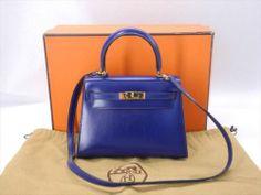 AUTH HERMES MINI KELLY NAVY GOLDEN BOX CALF LEATHER SHOULDER BAG CIRCELE U-STAMP | eBay