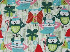 Season To Hoot, Funky Christmas, Michael Miller Aqua Christmas, Christmas Themes, Christmas Decorations, Owl Patterns, Quilt Patterns, Michael Miller Fabric, Textiles, Fat Quarter Shop, Xmas Crafts