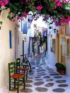 greek aegean island little street