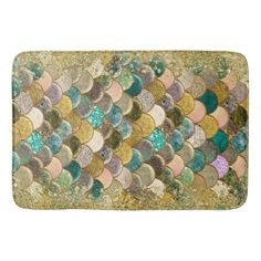 Mermaid Scales Multi Color Glitter Glam Trendy Bathroom Mat - girly gifts girls gift ideas unique special