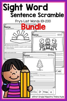 Your Kindergarten and First Grade Students will learn to read their Fry List Sight words with these no prep printable Fluency Sentence activities. Your students will enjoy learning sight words with these Printable Sentence Scrambles. Each senten Reading Tutoring, Reading Intervention, Student Reading, Guided Reading, Learning Sight Words, First Grade Sight Words, Word Study, Word Work, Beginning Of Kindergarten