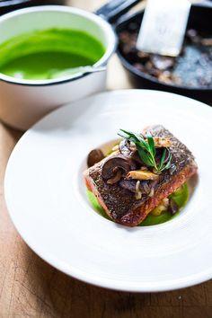 Pan-Seared Steelhead Salmon with Mushrooms, New Potatoes & Truffled Spring Pea Sauce