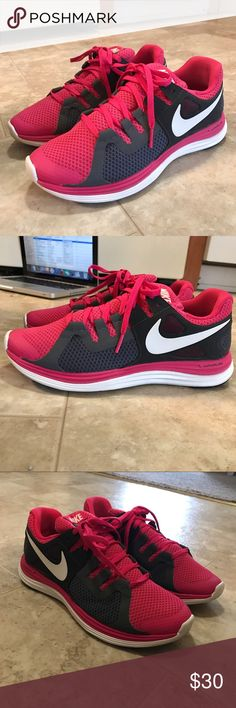 ‼️CLOSET DOWNSIZE‼️NIKE Lunar flash+. Size 7 Hot pink, grey and white Nike's. Size 7. Worn twice, maybe? Still look brand spankin new. Just trying to downsize my closet 😂 Nike Shoes Athletic Shoes