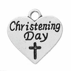 Antique silver tone christening day cross heart message word charms ,christening day heart necklaces ,antique silver heart necklaces .