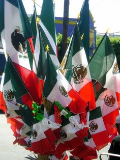 Banderas.    Flags for sale in anticipation of Mexican Independence Day on September 16th: Tijuana, Mexico