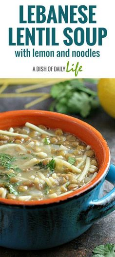 This Lebanese Lentil Soup with Lemon and Noodles is easy-to-make, healthy, and so delicious! Pair it with a salad for a light dinner.