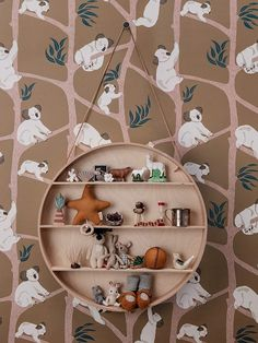 The wallpaper Koala Wallpaper - Mustard - from Ferm Living is a wallpaper with the dimensions x 10 m. The wallpaper Koala Wallpaper - Mustard - Ferm Living Wallpaper, Kids Wallpaper, Animal Wallpaper, Dorm Shelves, Wooden Shelves, Kids Interior, Motifs Animal, Little Library, Decorating Rooms