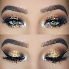How to make up green eyes? 50 tips in photos and videos! how to make up the green eyes eyeshadow in gold idea original makeup… Pretty Eye Makeup, Makeup Looks For Green Eyes, Glitter Eye Makeup, Green Makeup, Blue Eye Makeup, Eyeshadow Makeup, Glitter Brows, Pretty Eyes, Gorgeous Makeup