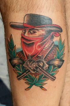 Traditional Cowboy Tattoo by Steve Rieck Las Vegas
