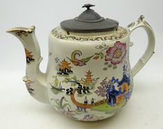 ''Large'' century Ironstone shop display teapot, pewter lid with bird finial, Chinoiserie decoration,Probably by 'James Dixon & sons' 16 inches high. Vintage China, Vintage Teapots, Chabby Chic, China Tea Sets, Chocolate Cups, Teapots And Cups, How To Make Tea, Vintage Pottery, China Porcelain
