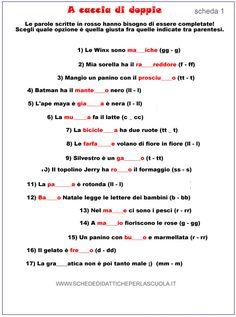 Esercizi con le doppie - Schede didattiche per la scuola Italian Words, Italian Language, Learning Italian, Primary School, Grammar, Classroom, Teaching, L2, Google